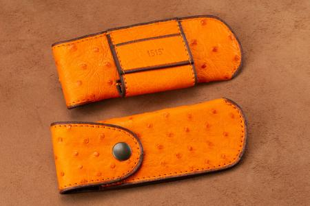 Belt holsters Knife case in Orange Ostrich leather